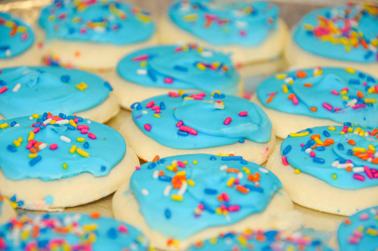 Blue frosting sugar cookies