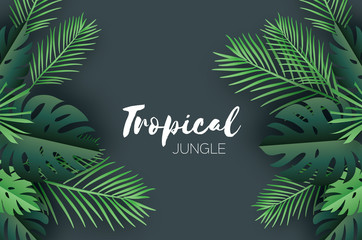 Trendy Summer Tropical palm leaves and plants in paper cut style. Origami Exotic Hawaiian summertime. Space for text. Beautiful dark green jungle floral background. Monstera, palm. Vector