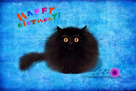 Birthday Card Fluffy Black Kitten Sitting On Blue Background