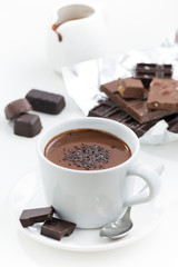 hot chocolate on a white background, vertical