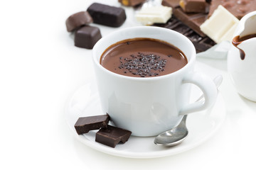 Foto op Canvas Chocolade hot chocolate on a white table