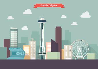 Seattle skyline vector illustration Wall mural