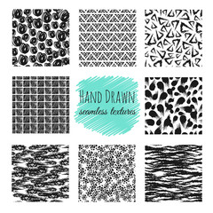 Hand drawn textures. Scribble squiggle ink pen seamless vector scratchy endless backgrounds