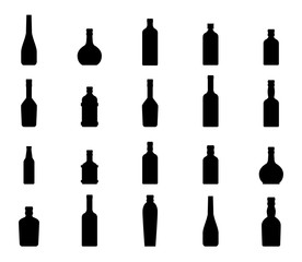 Flat vector bottle with alcohol icon set