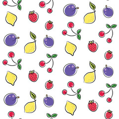 Fruits line colored doodle vector seamless pattern.