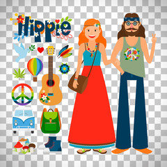 Hippie woman and man with guitar