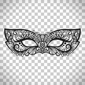 Mardi Gras mask on transparent background
