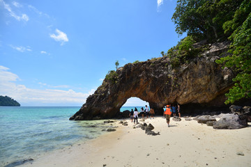 Beautiful beach with The stone arch of Koh Khai, Thailand