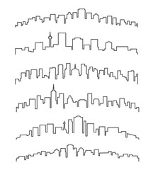 Linear cityscape or urban skyline vector illustration. City buildings line contours isolated on white background
