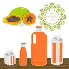 Abstract vector illustration logo whole ripe fruit papaya.