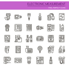 Electronic Measurement Elements , Thin Line and Pixel Perfect Icons.
