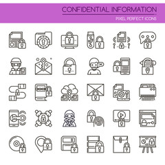 Confidantial Information , Thin Line and Pixel Perfect Icons.