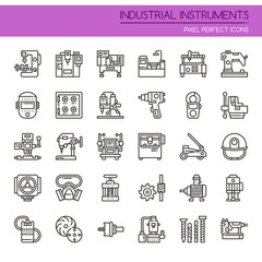Industrial Instruments , Thin Line and Pixel Perfect Icons.