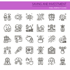 Saving and Investment , Thin Line and Pixel Perfect Icons.