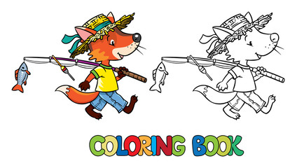 Little funny fox go fishing. Coloring book
