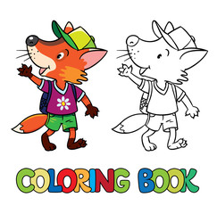 Funny fox with backpack. Coloring book