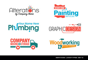 Set of typography logos for various services. plumbing, woodworking, graphic design, painting, moving, storage and sewing alterations