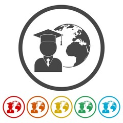 Global Graduation icons set - Illustration