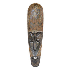 Indonesian Bali wooden mask on a white background