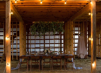 Wedding and decor. Wedding party.Setout. Vintage Style.