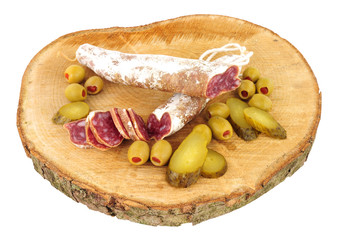 Traditional Spanish Fuet Catalan dry cured salami sausage