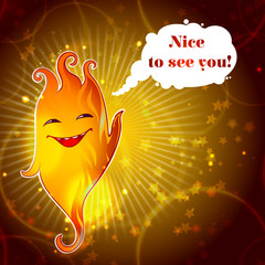 Cartoon Funny Smiling Fire Monster Template