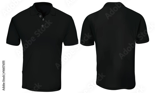 Vector Illustration Of Blank Black Polo T Shirt Template Front And Back Design Isolated On White