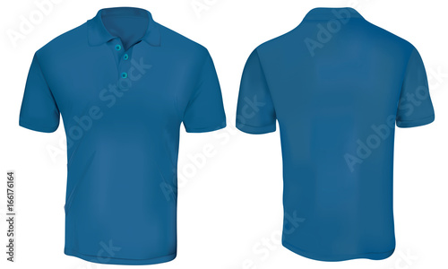 Vector Illustration Of Blank Blue Polo T Shirt Template Front And