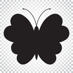 Butterfly vector icon. Silhouette of a butterfly illustration. Simple business concept pictogram on isolated background.