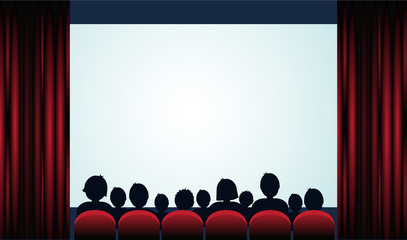 Cinema poster with audience, screen and red curtains .Vector illustration