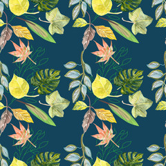 Beautiful leaves, seamless pattern, watercolor background
