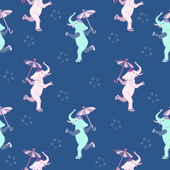 Cute elephant and umbrella. Seamless pattern. Vector illustration.