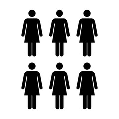 People Icon - Vector Group of Women Team Symbol for Business Infographic Design in Glyph Pictogram illustration