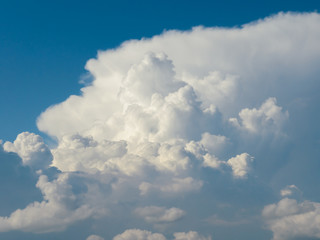Bubbling,fluffy clouds in the sky.