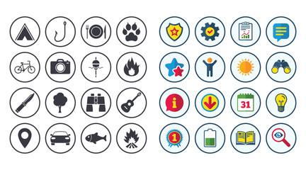 Set of Travel, Hiking and Camping icons. Fishing, Biking and Guitar music signs. Tourist tent, Food and Binoculars symbols. Photo and Rent a car. Calendar, Report and Book signs. Vector