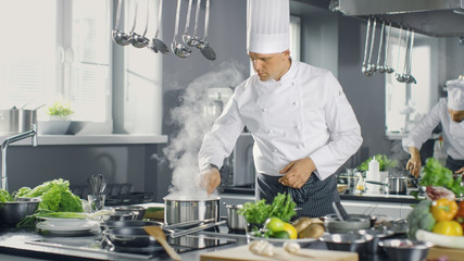 Famous Chef of a Big Restaurant Prepares Dishes with His Help of Cooks. Modern Kitchen is Made of Stainless Steel and Full of Cooking Ingredients.
