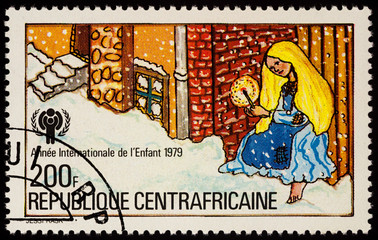 Scene from a winter fairy tale on postage stamp