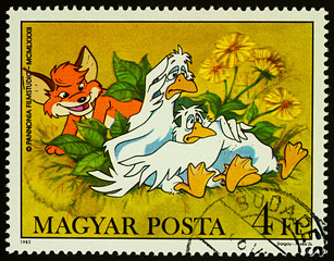 Geese and fox on postage stamp