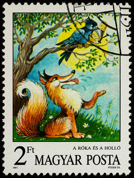 "Scene from a fable ""Fox and Crow"" by Aesop on postage stamp"