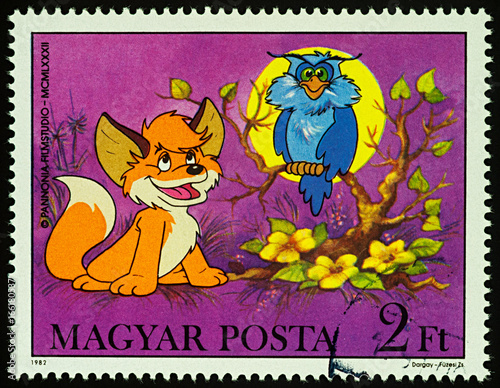 Owl And Fox On Postage Stamp