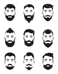 Monochrome avatar systems of hipsters portraits and face elements. Man mustache, beard