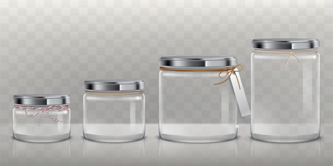 Set of vector realistic 3D illustrations of transparent glass jars for storage of food products, canning and preserving, isolated on a transparent background