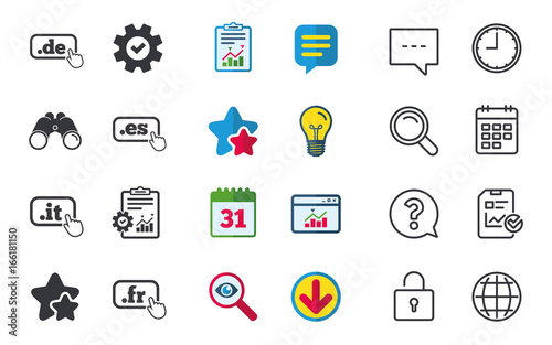 Top Level Internet Domain Icons De It Es And Fr Symbols With Hand