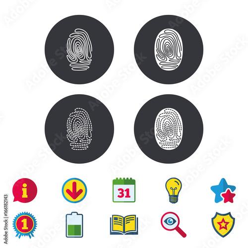 Fingerprint icons  Identification or authentication symbols