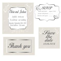 Vintage Wedding Invitation template.