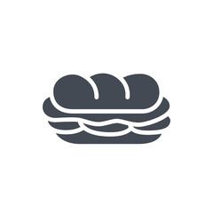 Photo sur Aluminium Snack Fast food sandwich sub silhouette icon