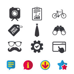 Hipster photo camera with mustache icon. Glasses and tie symbols. Bicycle family vehicle sign. Browser window, Report and Service signs. Binoculars, Information and Download icons. Stars and Chat