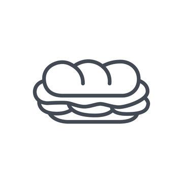 Fast food sandwich sub line icon