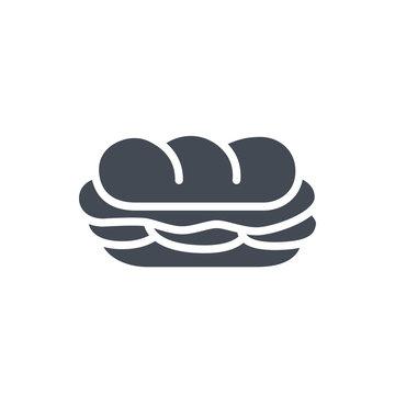 Fast food sandwich sub silhouette icon