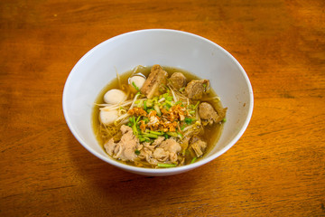 hot noodle asian food with part of pork